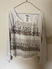 Express Stripped Glitter Sweater White And Grey Seizer medium Holiday Party