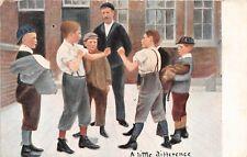 POSTCARD  CHILDREN -  A LITTLE BUSINESS  - BOYS - PLAYGROUND FIGHT