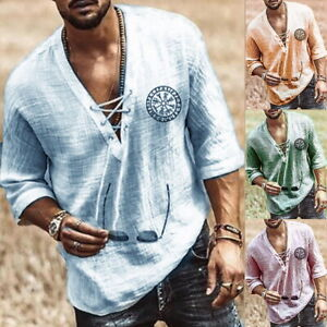Herren Retro V-Ausschnitt Schnürung Hemden Mittelarm Lose T-Shirt Pullover Tops