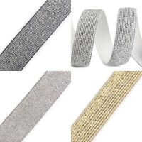 Glitter Elastic Ribbon Gold Silver Black 20 28 30 40mm x 1M Hair Waistband