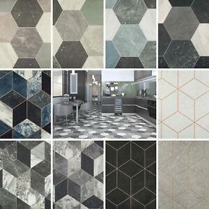 Vinyl Flooring Patterned Tile Effect Felt Backed R11 Lino Kitchen Bathroom CHEAP