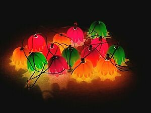 2 Sets of 7 Noma PATIO LIGHTS Tulip Flowers BLOW MOLD Party LItes STRING Vintage