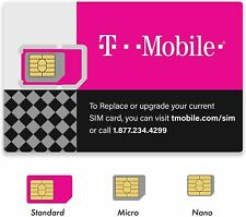 New Us $0 T-Mobile Gsm 4G Lte Factory 3 in 1 Triple Cut Sim Card