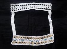 Crochet Applique Neckline Collar Square Beaded White a12 front back USA SHIPPER