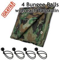 Tarpaulin Waterproof Heavy Duty Camouflage Camo Tarp Sheet and 4 Bungee Balls