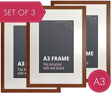 Set of 3 pcs A3 Walnut Photo Frame + Mat Board - A3 Picture Frames Wall Decor