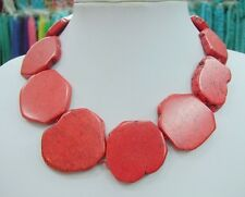 Glamour Chunky Red Coral Slice Handmade BIb Necklace Woman Party Gift 18inch