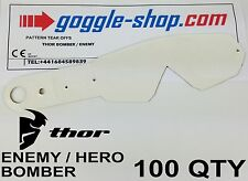 100 qty GOGGLE-SHOP MOTOCROSS TEAR OFFS to fit THOR ENEMY HERO BOMBER GOGGLES