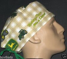 JOHN DEERE TAN & WHITE CHECKS SCRUB HAT / FREE CUSTOM SIZING!