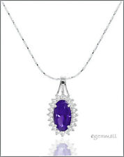 Sterling Silver Necklace with CZ Accent Pendant Amethyst Purple #90015