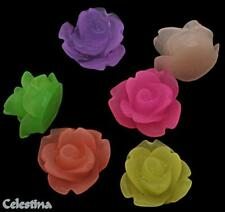 20 Resin Rose Cabochons Frosted Flowers 11mm - Flat Back- Mixed Colours - CAB39