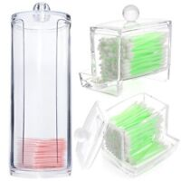 Cosmetic Makeup Case Clear Q-tip Storage Holder Cotton Pad Swab Box Organizer TF