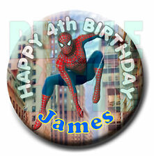 SPIDERMAN BIRTHDAY BADGE - 58mm - with ANY NAME & AGE