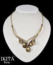 Luxus Halskette Kette Collier Metall Vergoldet  Ikita Paris  Blumen Antik