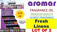2 Aromar Aromatherapy Essential Fragrance 100% Concentrate Oil FRESH LINENS 2X
