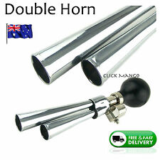 Double Air Horn Chrome Retro Bicycle Bike Loud Vintage Twist Bugle Mobility Bell