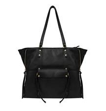 NEW Kooba Leather Tote Shopper Hand Bag Zipper Purse GK1206/08 - BLACK / TAUPE