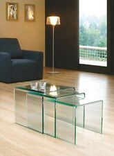 Milan Bent Curved Glass Modern Coffee Table Nest In Clear Glass