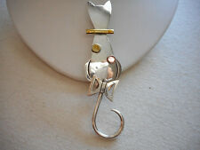 Vintage Mexico Sterling Silver Cat Brooch Movable Tail 231417