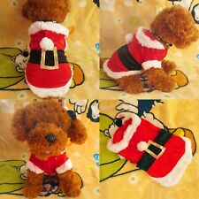 Pet Dog Christmas Xmas Warm Santa Claus Clothes Puppy Apparel Hoodie Coat Outfit