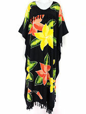 1692 Black Floral Pnt Heavy Rayon Fringed CAFTAN LONG DRESS PLUS SIZE 3X 4X 5X