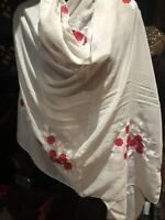 Vintage Style Embroidered Flower Beige Sheer Cotton Scarf Wrap Shawl