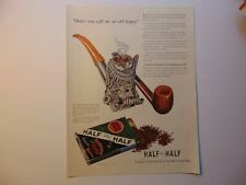 1941 FANCY STERLING SILVER PIPE HALF and HALF Tobacco art print ad