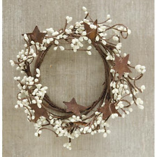 New Primitive Country White CREAM PIP BERRY RUSTY STAR Candle Ring Wreath 4""
