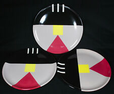 Set of 3 Vintage Michael Duvall Signed Postmodern Memphis Style Plates 1980's