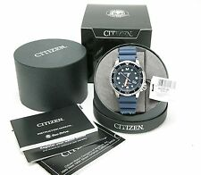 Men's Citizen Eco-Drive Promaster 200m Diver's Watch. Steel W/Blue Band. New/Box