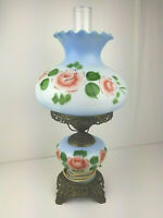 VINTAGE HANDPAINTED BLUE FLORAL GONE WITH THE WIND HURRICANE 3-WAY LAMP