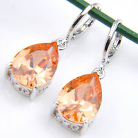 Pear Shaped Holiday Natural Honey Morganite Gems Silver Dangle Hook Earrings