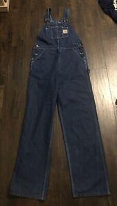 NEW Carhartt Mens Unlined Bib Overalls Size 34x34 R07DST Washed Blue Denim