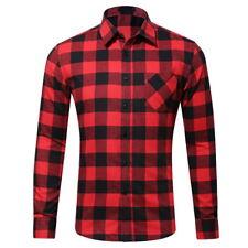 New Mens Plaid Flannel Casual Shirts Slim Fit Soft Comfortable Long Sleeve Shirt