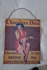 Nostalgie Blechschild Wandbild Bild CHOCOLATE DIVA PIN-UP-GIRL Antiklook 24x19cm