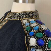Bonnie Border Black Vintage 80s Jewel Embellished Cardigan Sweater, Size Medium