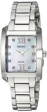 Seiko SUP377 Solar Stainless Steel Mother of Pearl W/ Diamonds Dial Womens Watch