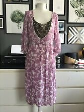 Noa Noa Dress M 10 12 Lilac Floral Bohemian Artisan Embellished Sheer Smock