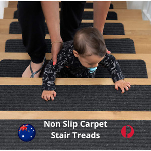 Non Slip Stair Carpet Treads Rug Safety Slip Resistant Pre Applied Adhesive New