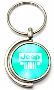 Green Jeep Grill Logo Brushed Metal Round Spinner Chrome Keychain Spin Ring