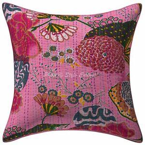 Indian Decorative Sofa Cushion Cover 16 x 16 Kantha Printed Cotton Pillowcase