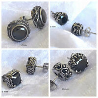 Oxidized Silver Filigree Gothic Stud Earrings Made With Black Swarovski Crystal