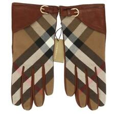 NEW BURBERRY HOUSE CHECK BROWN LEATHER WRIST CASUAL MED LENGTH GLOVES 7