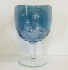 Blue Iridescent Crystal Wine Glass Goblet with Silver Stars