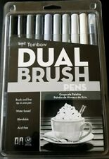 TOMBOW DUAL BRUSH PENS MARKERS ART GRAYSCALE PALETTE 10 PIECE SET #56171 ~ NIP