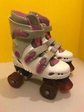 Roller Skates Girls Adjustable Kids Quad Boots Junior 13 White/Pink