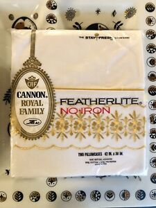 """Vintage NOS Cannon Royal Family Pillowcases """"Chalet"""" - Gold Embroidery Border"""