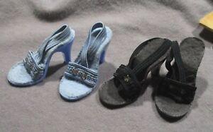 "Vintage Doll Accessories - Blue & Black High Heel Shoes for 18""-20"" Dolls"