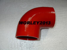 "Red silicone 90 degree elbow hose 76mm 3"" connector joiner intake turbo pipe"