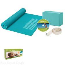 Home Travel Starter Learning Yoga Mat Block Strap DVD Accessory Aid Kit Set New
